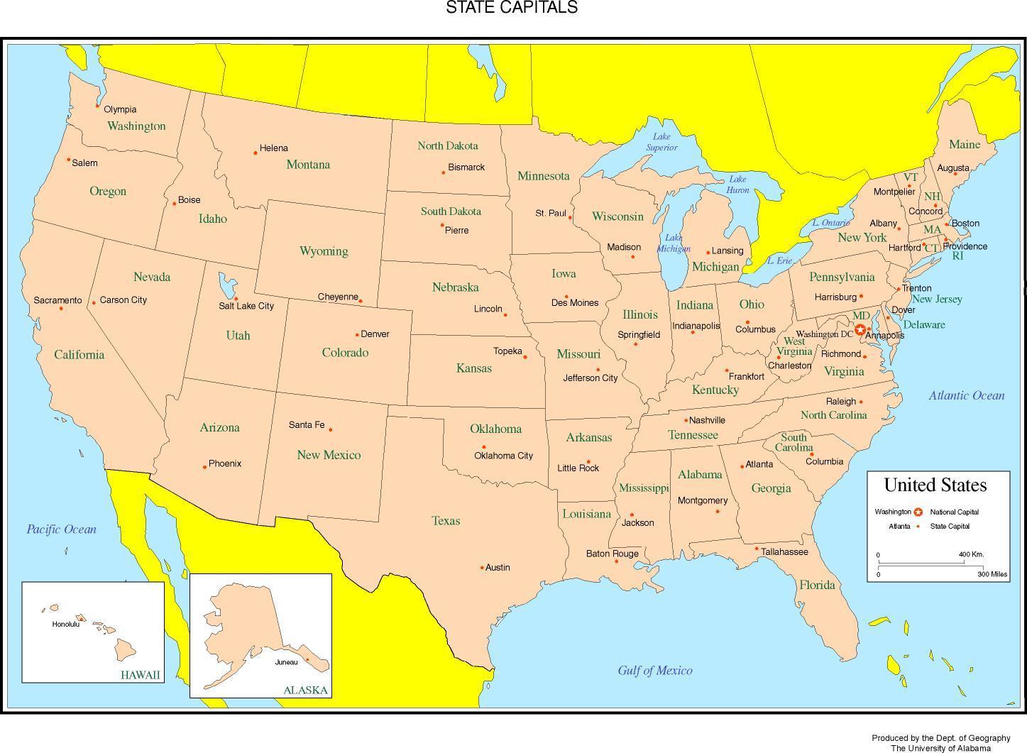 50 Osavaltioiden Kartta Merkitty Kartta 50 Osavaltiossa Merkitty