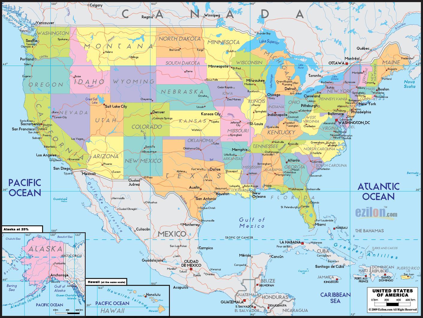 Kartta Amerikan Kartta Amerikassa Pohjois Amerikka Amerikka