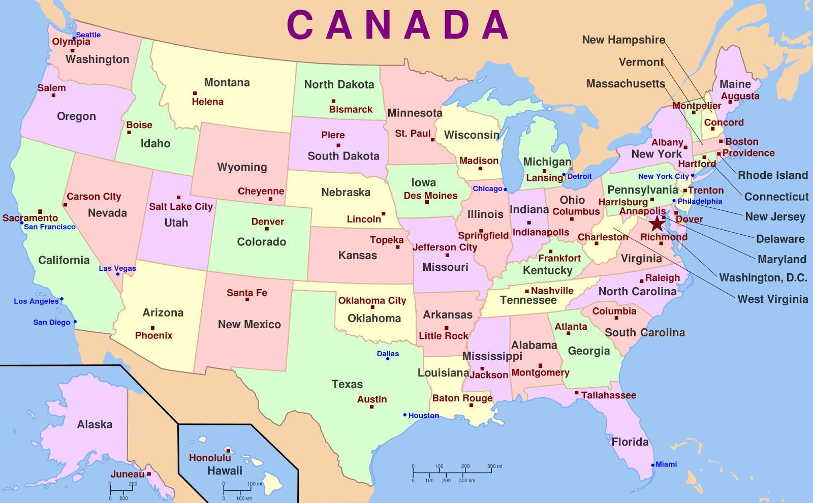 Usa Kartta Valtiot Ja Paakaupungit Usa Kartta Paakaupungeissa