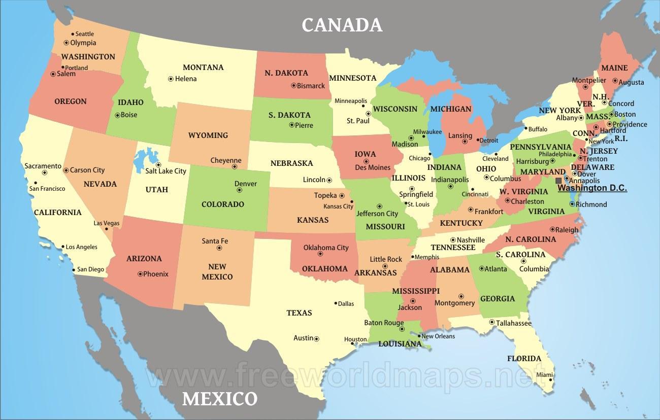 Usa Kartta Kaupungit Kartta Usa Kaupungeissa Pohjois Amerikka
