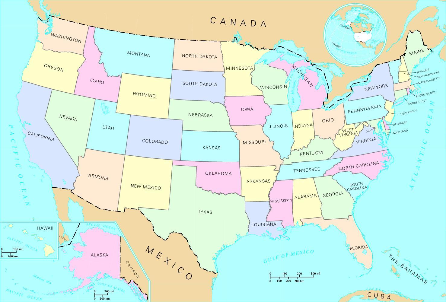 Yhdysvaltain Kartta Valtioiden Yhdysvaltain Kartta Tilassa