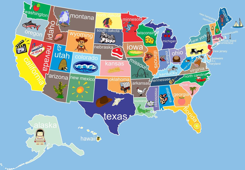 Yhdysvalloissa Osavaltioiden Kartta Yhdysvaltojen Kartta Jossa