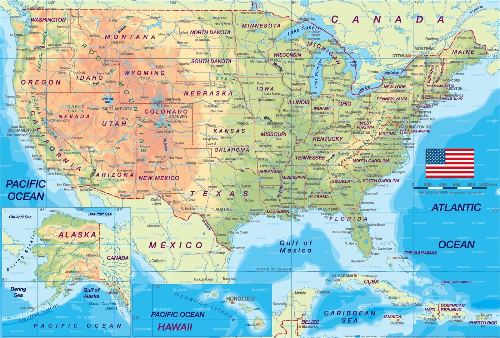 Varikas Yhdysvaltojen Kartta Valtioiden Ja Paakaupungeissa Juliste