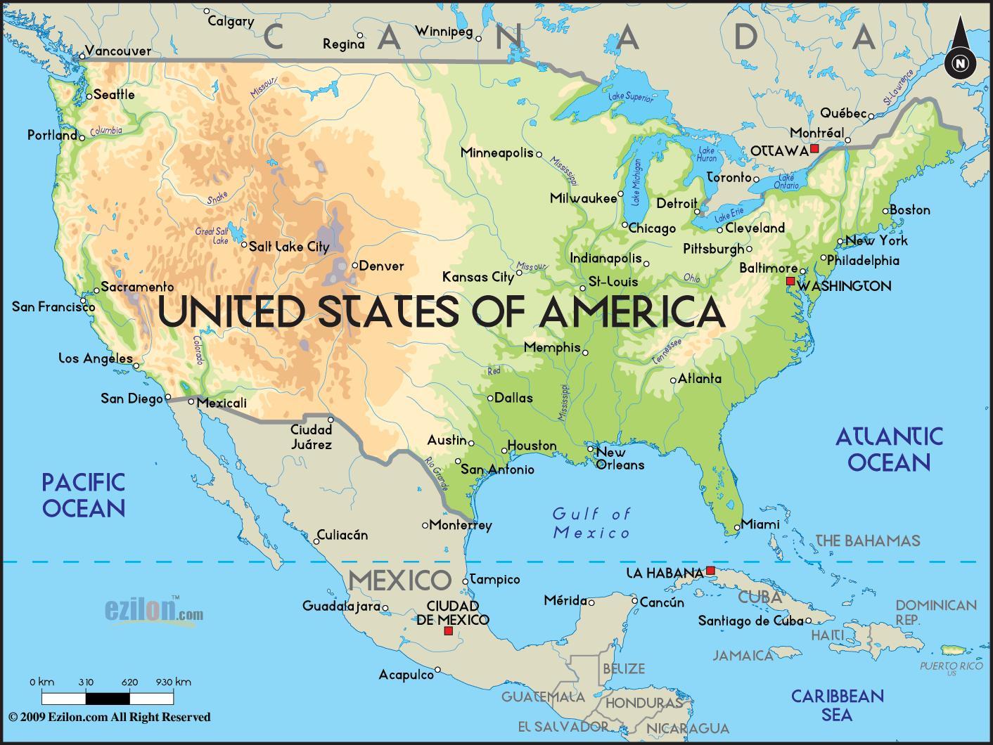 Yhdysvaltain Kartta Valtameret Kartta Usa Valtameret Pohjois