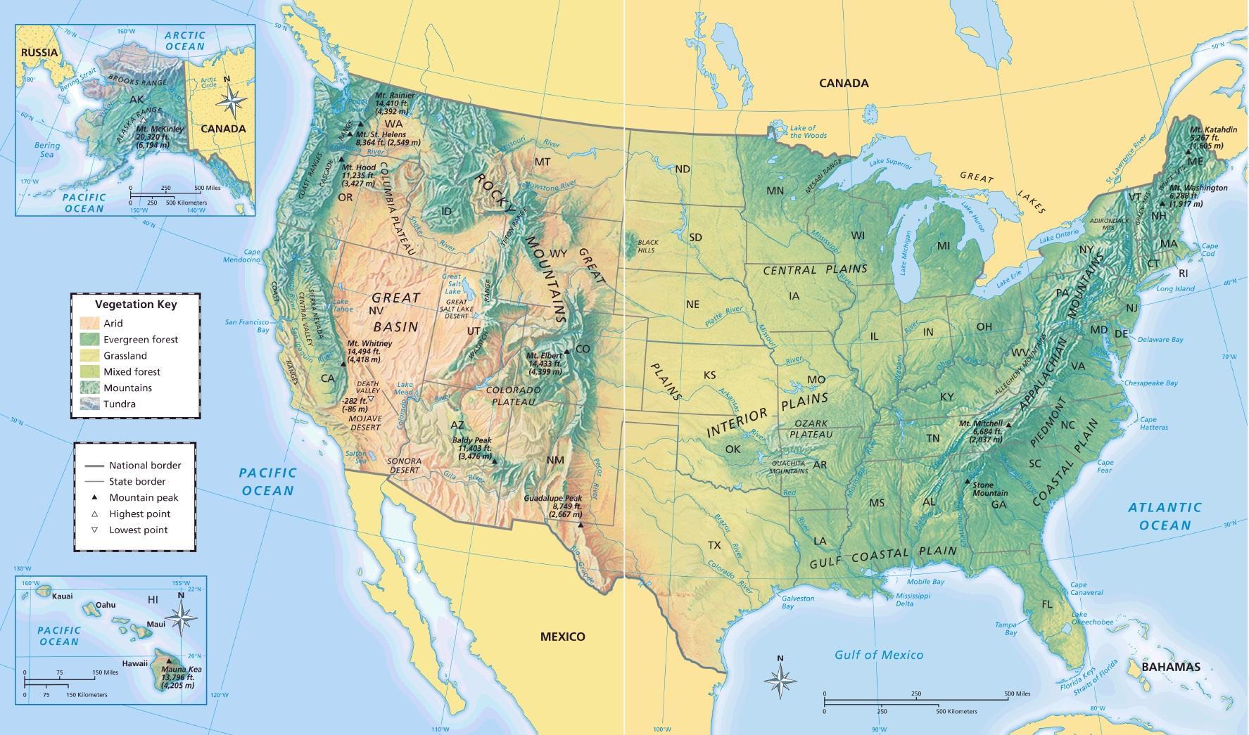 Yhdysvaltain Maantiede Kartta Yhdysvaltain Kartta Maantiede