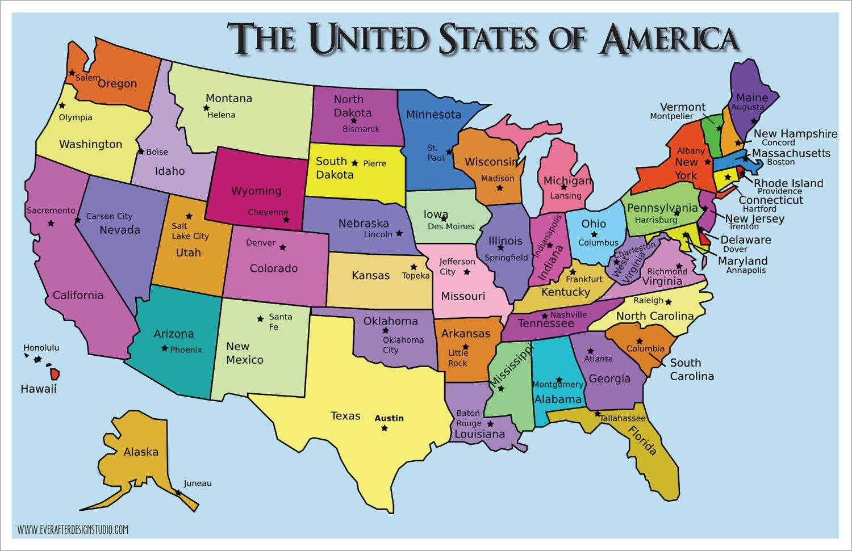 Yhdysvaltojen Kartta Jossa Valtiot Ja Paakaupungit Kartta