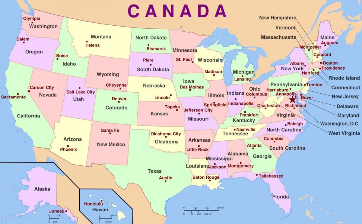 Usa Kartta Jossa Kaikki Valtiot Usa Kaikkia Valtioita Kartta